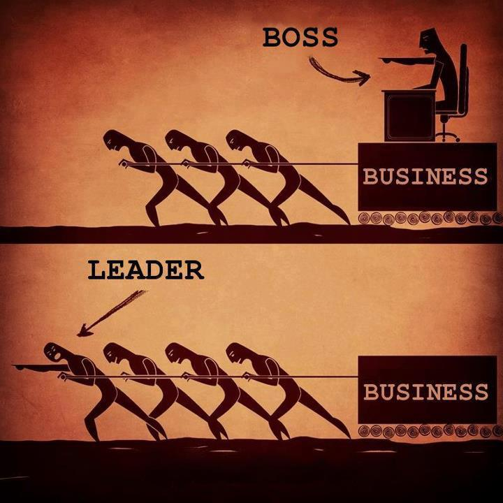 A leader stands right with his or her team